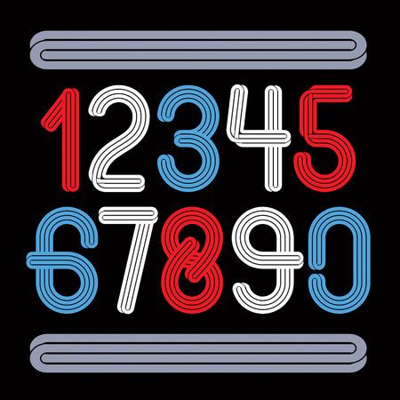 Set of vector funky rounded numbers made with parallel lines, can be used for logo creation in entertainment business.