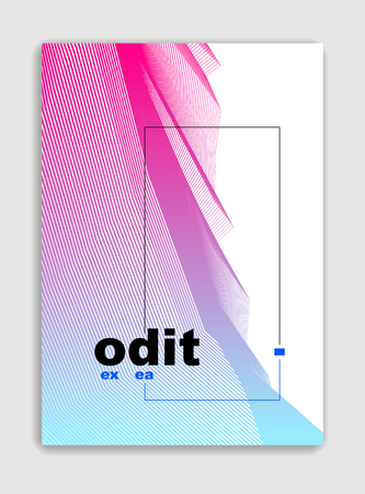 Linear vector minimal trendy brochure design, cover template, geometric halftone gradient. For Banners, Placards, Posters, Flyers. Beautiful and special, pattern texture. Illustration