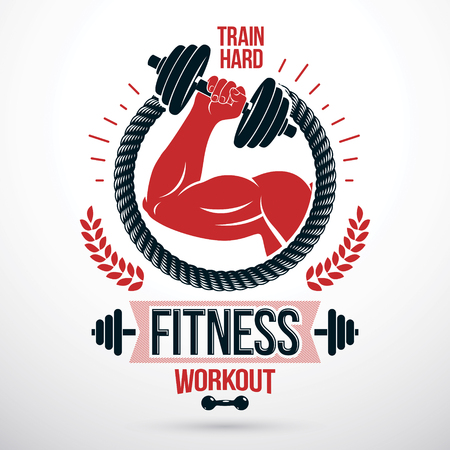 Bodybuilding and fitness sport vector emblem made using muscular athletic arm holding dumbbell.
