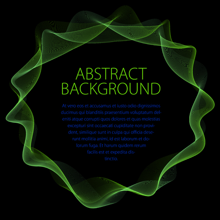 Round smooth linear frame of wavy lines. Vector abstract artistic beautiful background with copy space for text.  Isolated over black background.  イラスト・ベクター素材