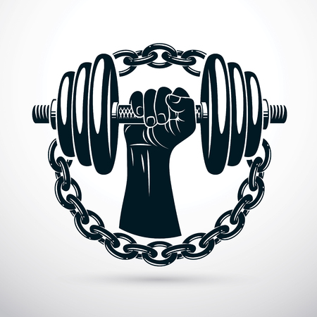 Vector illustration of athletic sportsman biceps arm holding dumbbell and surrounded by iron chain, symbol of strength and healthy lifestyle. Fitness workout. Illustration