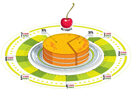 Creative infographics elements, piece of pie idea, vector illustration. Illustration