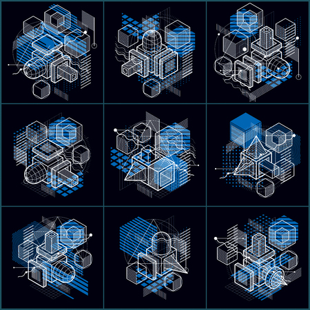Abstract backgrounds with isometric lines, vector illustrations. Templates made with cubes, hexagons, squares, rectangles and different abstract elements. Vector set.