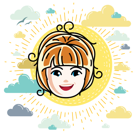 Caucasian type girl face expressing positive emotions, vector human head illustration. Beautiful redhead happy child with stylish haircut.