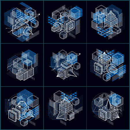 Lines and shapes abstract vector isometric 3d backgrounds. Layouts of cubes, hexagons, squares, rectangles and different abstract elements. Vector collection.