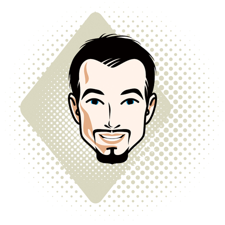 Caucasian man face expressing happiness, vector human head illustration. Attractive bearded male with whiskers. Illustration