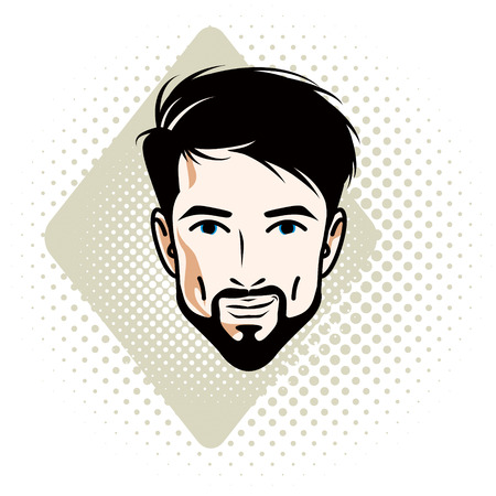 Vector illustration of handsome brunet male face with mustache and beard, positive face features, clipart. Illustration