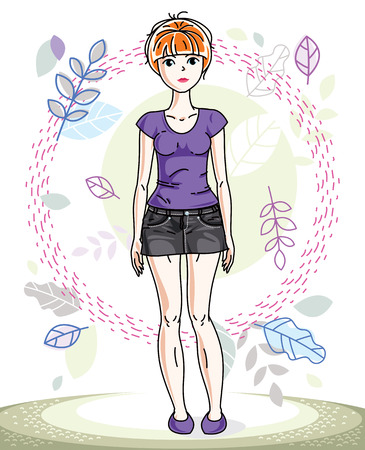 Beautiful stylish young red-haired woman posing on background of spring landscape and wearing different casual clothes. Vector nice lady illustration. Springtime theme clipart.