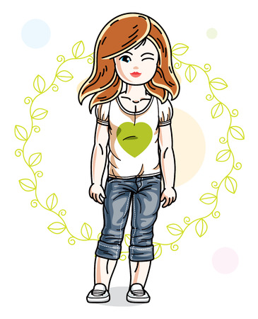 Little redhead girl toddler in fashionable casual clothes posing on green eco background. Vector illustration of kid standing.