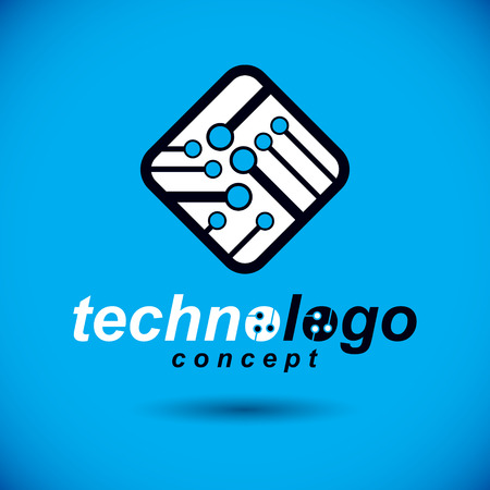 Vector technology cpu design with square microprocessor scheme. Computer circuit board, digital element. Technology microchip logo. Illustration