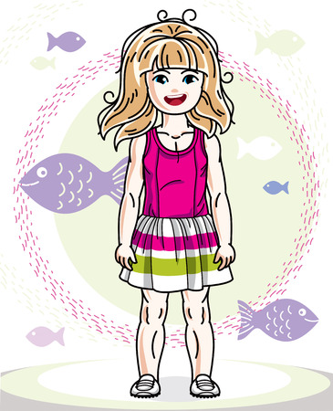 Happy little redhead girl posing on marine background with fishes and wearing fashionable casual clothes. Vector character. Illustration