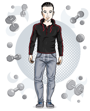 Confident handsome brunet young man is standing on simple background with dumbbells and barbells. Vector illustration of sportsman, sport style. Illustration