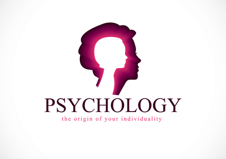 Psychology vector logo created with woman head profile and little child girl inside, inner child concept, origin of human individuality and psychic problems. Psychotherapy and psychoanalysis concept. Stock fotó - 101722408