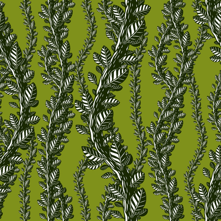 Floral seamless pattern with leaves and branches, vector green fabric background. Tangled stems, garden and forest nature life theme.
