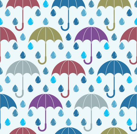 Falling rain drops and umbrellas water vector seamless pattern, weather and nature theme blue colored repeat endless background, dew water dripping. Ilustração