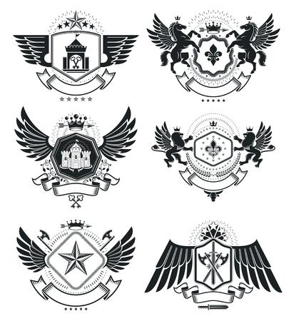 Vintage award designs, vintage heraldic Coat of Arms. Vector emblems. Vintage design elements collection. Illustration