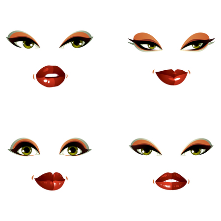 Set of vector beautiful female visage with stylish makeup, eyes and lips. Women face features expressing different emotions.