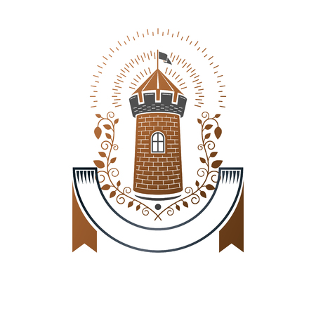 Ancient Fortress emblem. Heraldic Coat of Arms, vintage vector logo. Ornate logotype in old style on isolated white background.