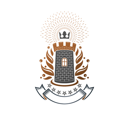 Ancient Fortress emblem. Heraldic Coat of Arms, vintage vector logo. Antique logotype in old style on isolated white background.