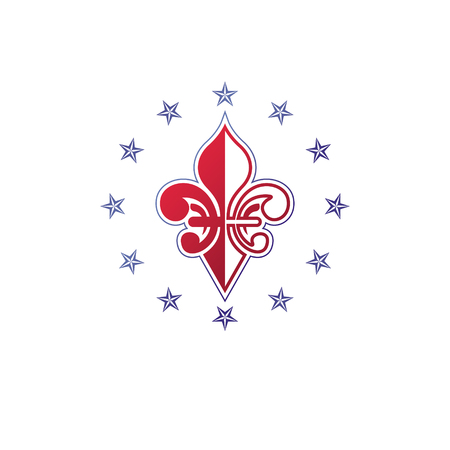 Retro vintage Insignia created with lily flower and pentagonal stars. Vector product quality idea design element, Fleur-De-Lis.