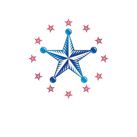 Ancient pentagonal Star emblem, the best. Heraldic vector design element, premium symbol.  Retro style label, heraldry logo.