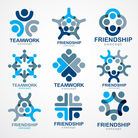 Teamwork and friendship concepts created with simple geometric elements as a people crew. Vector icons or logos set. Unity and collaboration ideas, dream team of business people blue designs. Vettoriali