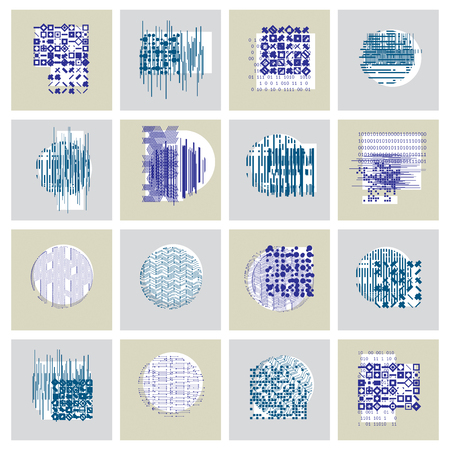 Abstract vector backgrounds set, geometric illustrations collection.