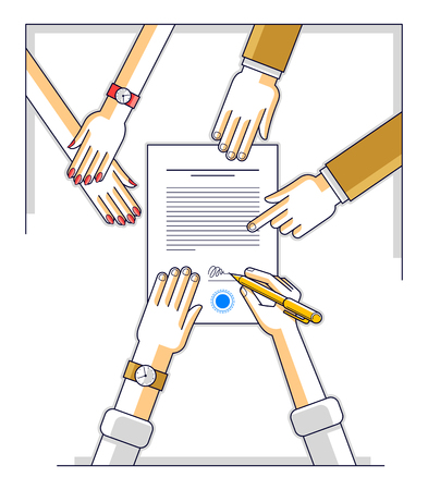 Bank customer write a sign on financial form of money credit with employees helps him and explains the terms of loan or Businessman signs contract paper, top view of desk with people hands. Vector. Illustration