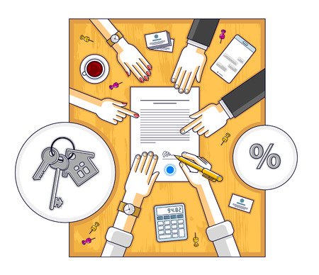 Man signs bank mortgage hypothec for real property house buying and employee explains terms of loan credit, top view of desk with people hands and paper documents. Vector illustration.