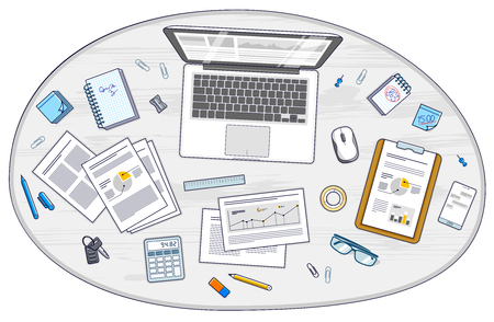 Office employee or entrepreneur work desk workplace with laptop computer and analytics papers with graphs and data and stationery objects on table. All elements are easy to use separately. Vector. Illustration
