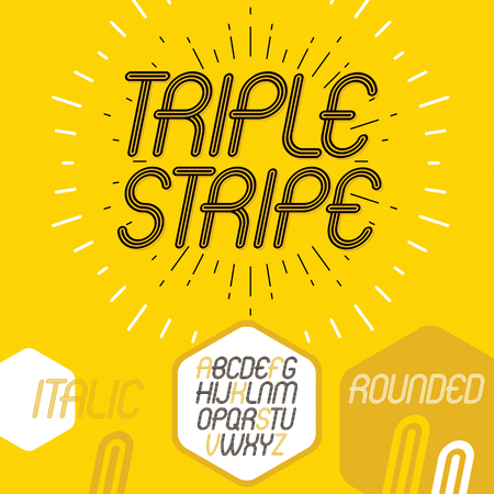 Vector cool capital alphabet letters collection. Retro italic rounded type font, script from a to z best for use in logotype creation. Made with triple stripy decoration.
