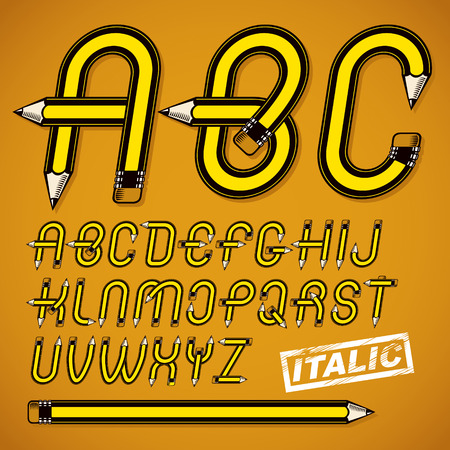 Vector capital alphabet letters collection made using office supplies design, wooden pencils. Can be used as logo design elements in copywriting business advertising. Illustration