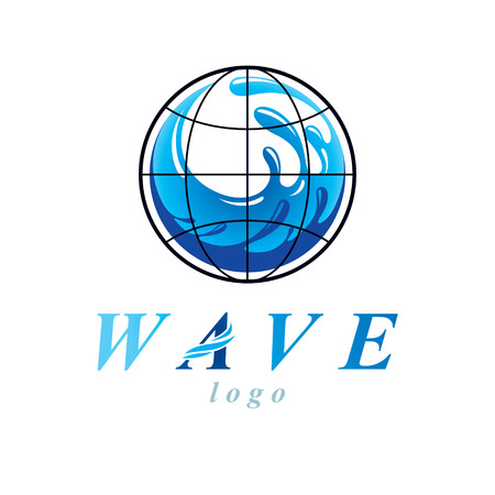 Pure water vector abstract symbol for use in mineral water advertising. Human and nature coexistence concept. Illustration