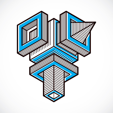 Isometric abstract vector dimensional shape, polygonal figure Illusztráció
