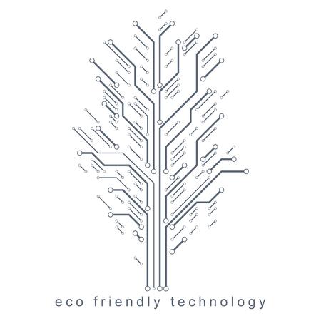 Art vector graphic illustration of modern digital tree, technology innovation abstract design. Renewable resources idea.