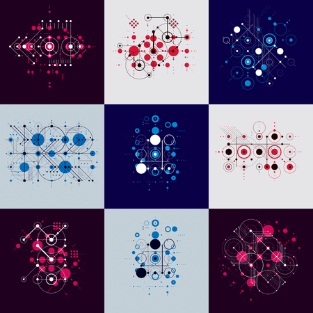Set of modular Bauhaus vector backgrounds, created from simple geometric figures like circles and lines. Best for use as advertising poster or banner design.