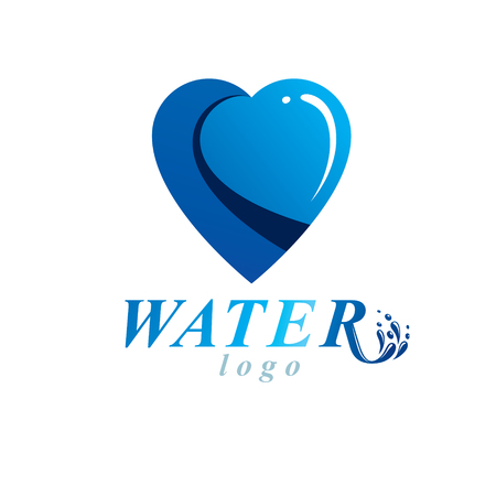 Ocean freshness theme vector symbol for use in mineral water advertising. Environment conservation concept.