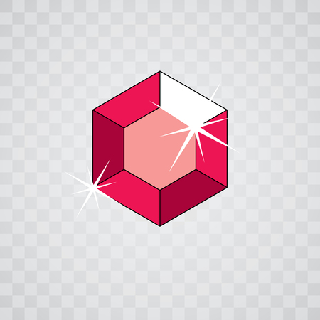 Vector glossy red ruby symbol. Luxury diamond icon, illustration.