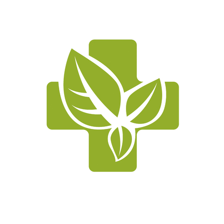 Vector illustration of religious Christianity cross composed with green spring leaves. Charity and volunteer theme. Alternative medicine concept. Illustration