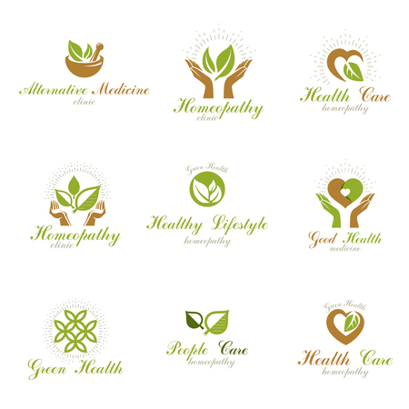 Living in harmony with nature metaphor, set of green health idea logos. Wellness center abstract modern emblems.