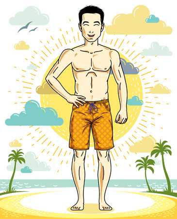 Handsome brunet young man standing on tropical beach in shorts. Vector athletic male illustration. Summer vacation lifestyle theme cartoon.