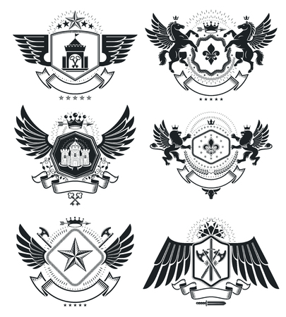 Vintage award designs, vintage heraldic Coat of Arms. Vector emblems. Vintage design elements collection.