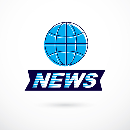 World and global news concept, vector emblem of blue Earth divided with meridians and composed with news inscription.
