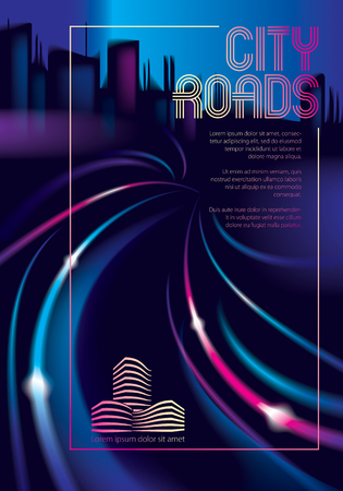 Traffic shiny lines of the night city road. Effect vector beautiful background. Blur colorful dark background with cityscape, buildings silhouettes skyline. Brochure, flyer, cover, poster or guidebook template.