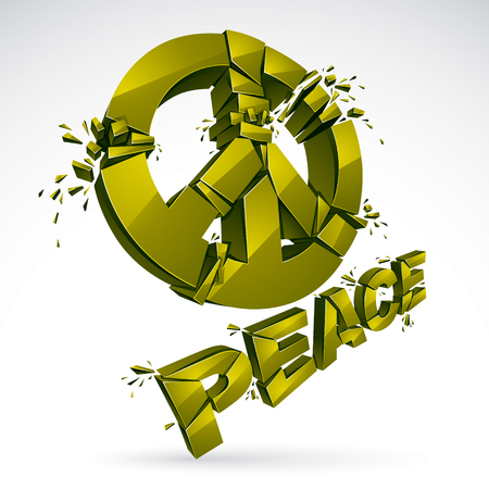 Peace Symbol breaking to pieces vector 3d realistic illustration, broken peace, antiwar meeting and protest demonstration like hippies and pacifists in 60s, against military conflicts and killings.