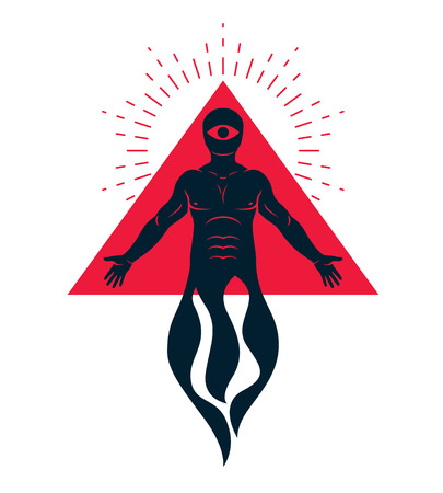 Mason vector illustration created as muscular human composed with burring flame and red triangle with all-seeing eye. Religion and theology concept.