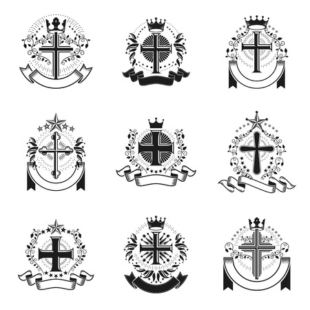 Crosses Religious emblems set. Heraldic Coat of Arms, vintage vector  collection. Ilustração