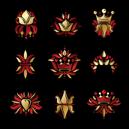 Royal symbols, Flowers, floral and crowns, emblems set. Heraldic vector design elements collection. Retro style label, heraldry