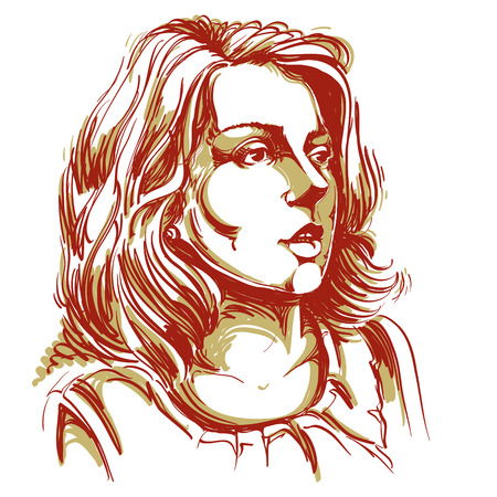 Colorful vector hand-drawn image, amazed young woman. Black and white illustration of white skin serious girl. Ilustrace