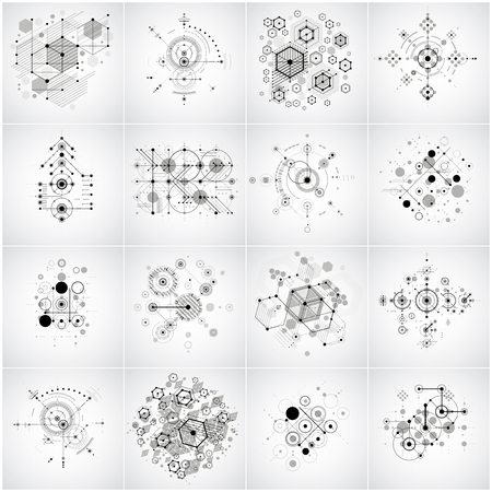 Set of modular Bauhaus vector backgrounds, created from geometric figures like circles and hexagons. Best for use as advertising poster or banner design. Collection of abstract mechanical schemes. Vectores